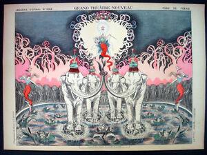 Set of 2 Pellerin Imagerie D'Epinal prints Grand Theatre Nouveau Inv1762/1763
