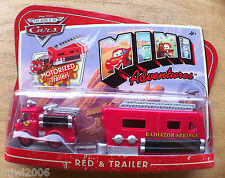 Disney PIXAR World of Cars MINI ADVENTURES RED Fire Truck with MOTORIZED TRAILER