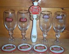 STELLA ARTOIS TAP HANDLE KEG MARKER 4 ANNIVERSARY GLASSES 40cl & COASTERS NEW