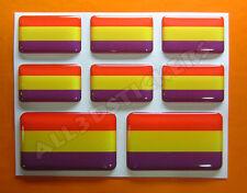 8 x Pegatinas 3D Relieve Bandera de la Republica - Todas las Banderas del MUNDO