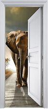 Sticker porte trompe l'oeil Eléphant 90x200 cm réf 323