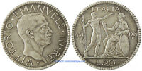 ITALY,VITTORIO EMANUELE III,20 LIRE SILVER 1927 THE YEAR 6TH,SUPERB AND RARE