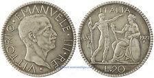 ITALIE , VITTORIO EMANUELE III , 20  LIRE  ARGENT  1927 AN VI  , SUPERBE ET RARE