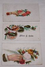 3-VICTORIAN ERA CALLING CARDS-GENEALOGY-LOVE FAMILY NAME