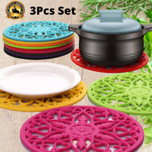 3Pcs Silicone Trivet Mat Set Heat Resistant Kitchen Hot Pot Holder Non Slip Pads