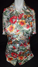 Designers Choice Hawaiian Shirt Vtg 60s 70s Acetate Nylon Floral Print Size XS S