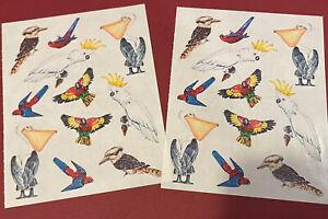 "Creative Memories Lot of Two 5""x4"" Stickers - Parrots, Pelicans, Birds"