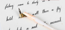 Resin English Oblique Orange Calligraphy Scrip Dip Pen Nib Copperplate Holder