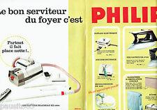 PUBLICITE ADVERTISING 086  1964  Philips (2) fer à repasser éléctro aspirateur
