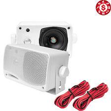 "2 Pyle 3.5"" 200w 3-Way Weather Proof Mini Box Outdoor Marine Speakers White"