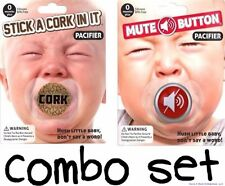 COMBO - Mute Button & Cork Funny Pacifier Joke Set - BigMouth Inc