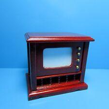Dollhouse Miniature Console Television / TV in Mahogany ~ T3586