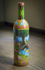 Hand painted wine Bottle - One of a Kind-Folk Art -