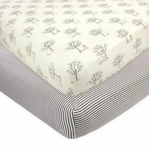Touched by Nature Organic Cotton Fitted Crib Sheet 2pk, Birch Trees, One Size
