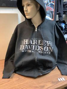 Harley-Davidson Men's 2XL Black Full zip hoodie hooded sweatshirt NEW