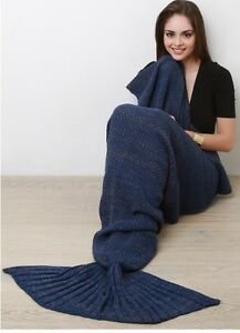 NAVY TWO TONE MARLED KNIT COZY MERMAID TAIL THROW BLANKET