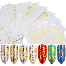 16 Sheets Gold Silver Water Decals Christmas Nail Sticker Snowflake Tree Deer .