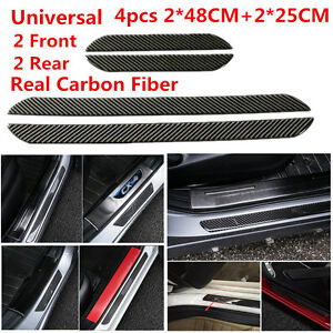 4X48+25CM Real Carbon Fiber Car Scuff Plate Door Sill Cover Panel Step Protector