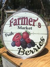 Farmers Market Fresh Berries Round Sign Tin Vintage Garage Bar Decor Old Rustic