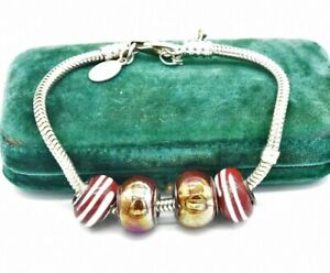 Vintage Sterling Silver bracelet Murano Glass Charms Art Deco Gift 8 inch #N624
