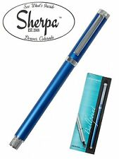 Sherpa #7964 Blue Ball Point Pen Holder with Silver Trim