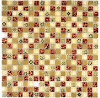 Mosaik Fliese Leopard beige quadratisch Glasmosaik WB92-1212 | 1 Matte