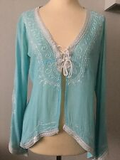 DONALE: ST. BARTS ST. TROPEZ TURQUOISE COTTON EMBROIDERED TOP ONE SIZE USED ONCE