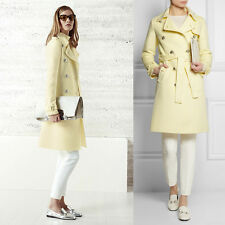 sz 40 NEW $3200 GUCCI RUNWAY Pale Yellow ALPACA WOOL Long BELTED TRENCH COAT S