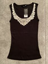 Womens Size UK 12 Dorothy Perkins Sleeveless Black & White Vest Top, Brand New