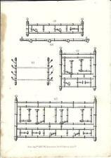 Stampa antica ATTACCAPANNI Mobili Arredamenti 1850 Old antique Print FURNITURE