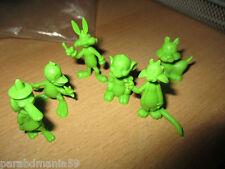 Rare série figurines verte-Stenval 1981-Gros minet,bug bunny.....