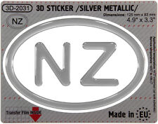 NZ New Zealand OVAL GEL DOME CAR STICKER Silver metallic Resin Decal 3d Badge