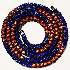 Iced Hip Hop Black Gun Metal 1 Single Row Chain Orange Blue Gators CZ Necklace