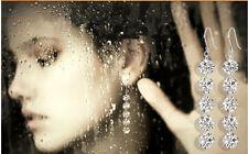 Womens Lady Long Silver Hook Earring Round Crystal Drop Dangle Earrings