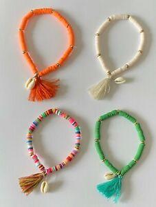 Boho Shell Tassel Summer Beach Charm Elastic Bracelet