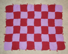 HAND KNITTED BLANKET - PINOT AND LILAC COLOR - CHECKERBOARD PATTERN