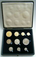 More details for 1893 queen victoria old head 10 coin gold and silver set - gold £5 to silver 3d