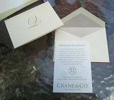 CRANE'S Hand Engraved 'Notes' Gold Initial Stationery~10 Notes/Lined Envelopes~
