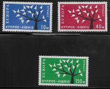 Cyprus Scott #219-21, Singles 1963 Complete Set FVF MH