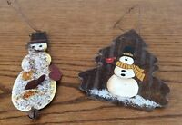 Snowman Tin Ornaments Set of Two Christmas