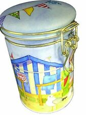 Emma Ball Coastal Beach Huts Seaside Clip Caddy Biscuit Storage Tin