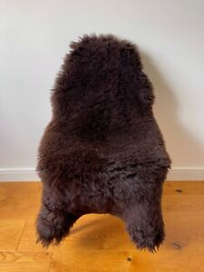 Large Genuine Merino Sheepskin Sheep Rug Nat. Dark Chocolate Brown Real Fur.
