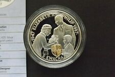ENCAPSULATED SOLID SILVER FIVE KWACHA COIN GOLDEN WEDDING + CERT 1997 (1579)