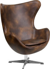 Flash Furniture Bomber Jacket Leather Egg Chair with Tilt-Lock Mechanism
