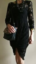 Formal Outfit Women. Black Lace Dress Size M. Animal Print Bag. Necklace.