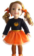 """Orange Pumpkin Outfit Halloween For 14.5"""" WELLIE WISHERS Doll Clothes"""