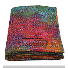 Indian Paisley Print Throw Blanket Bohemian Bedding Bedspread Hand Dye Coverlets