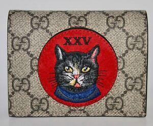 NIB Gucci GG Supreme Canvas Cat Embroidered Card Case Small Wallet 499380