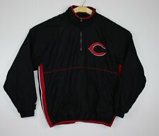 Cincinnati Reds 1/4 Zip Pullover Jacket Windbreaker Majestic Size Large Black