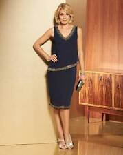Nightingales Beaded Trim Double Layer Dress Navy Size 26 RRP £60